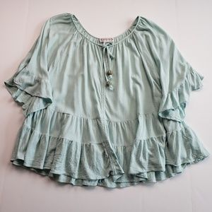 NANETTE LEPORE Mint Green Swing Layered Blouse 14
